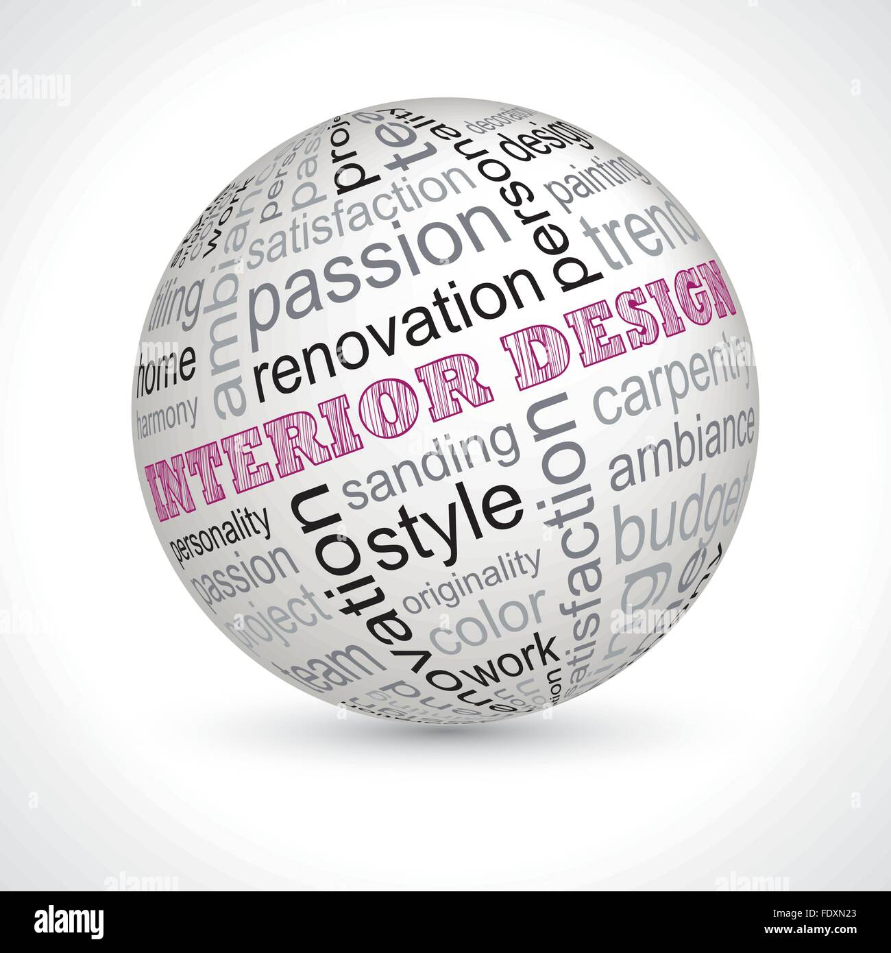 Interior Design Theme Sphere With Keywords Full Vector Stock Vector