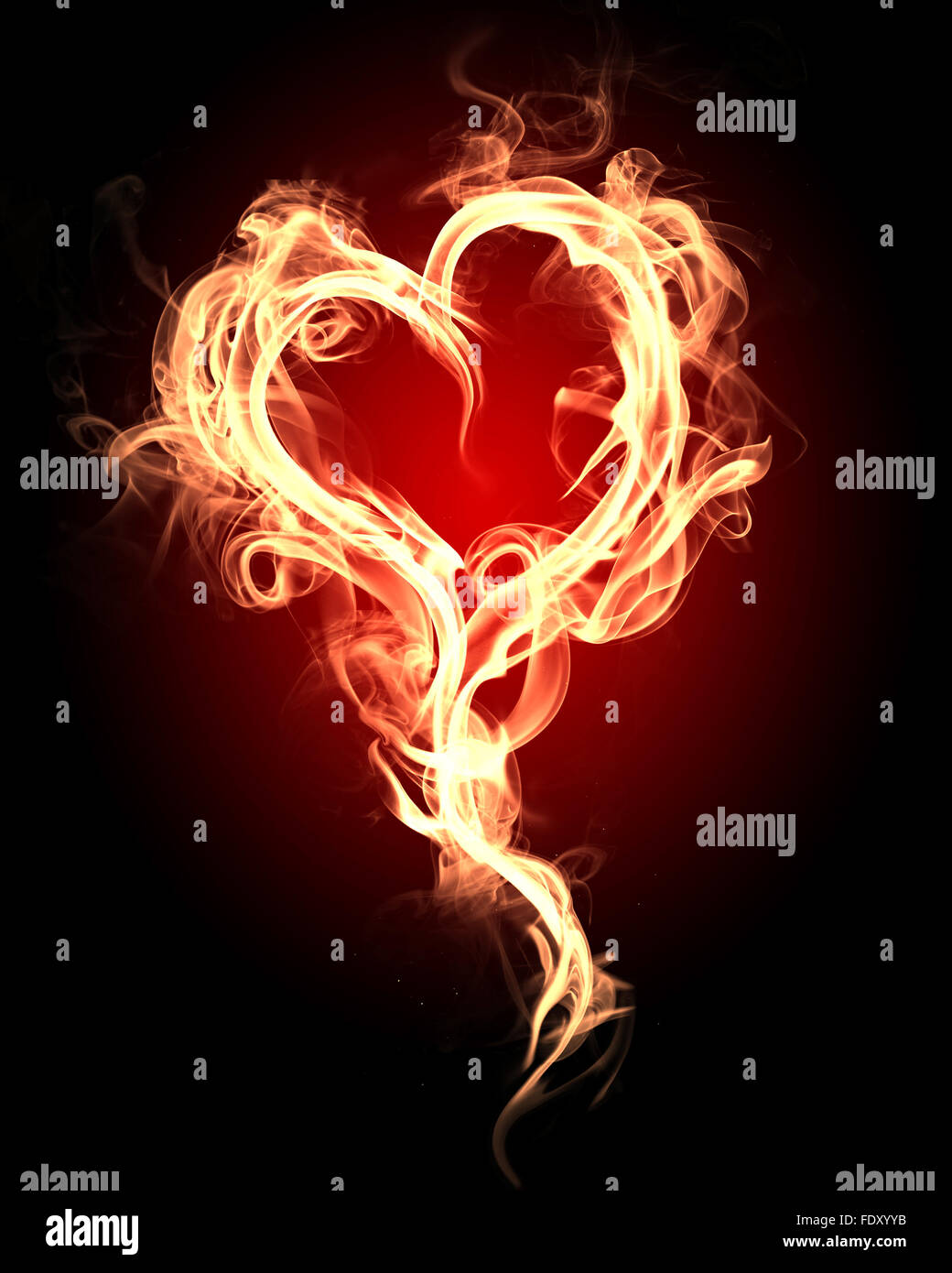 burning heart with flames