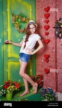 Cute Teen Girl Barefoot Standing Stock &