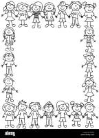 Frame or page border of cute kid cartoon characters ...