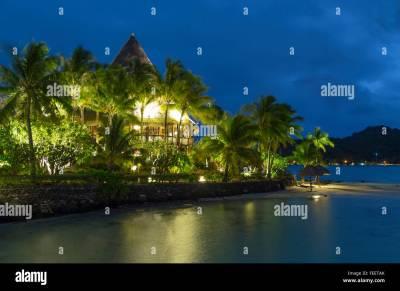 Sofitel Private Island at dusk, Bora Bora, Society Islands ...