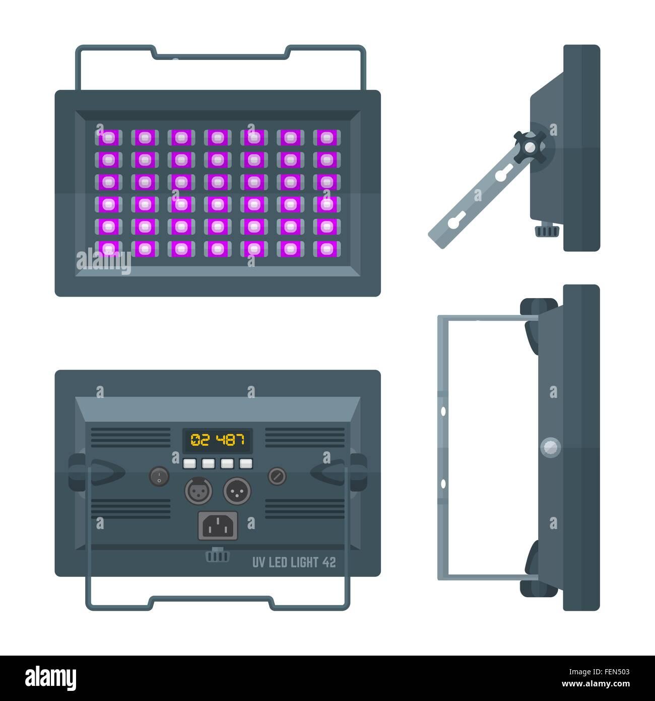 hight resolution of led ultraviolet blacklight professional stage projector lightning colored flat illustration white background