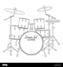 vector dark outline drum set on white background bass tom tom ride black and white diagram of a drum set including cymbals high hat [ 1300 x 1390 Pixel ]