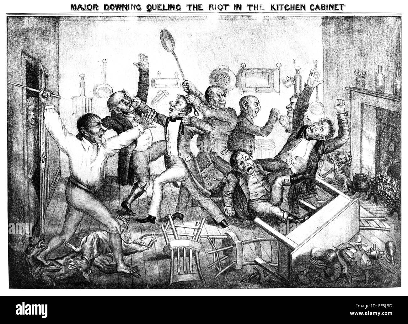 ANDREW JACKSON CARTOON. /n'Major Downing Queling the riot