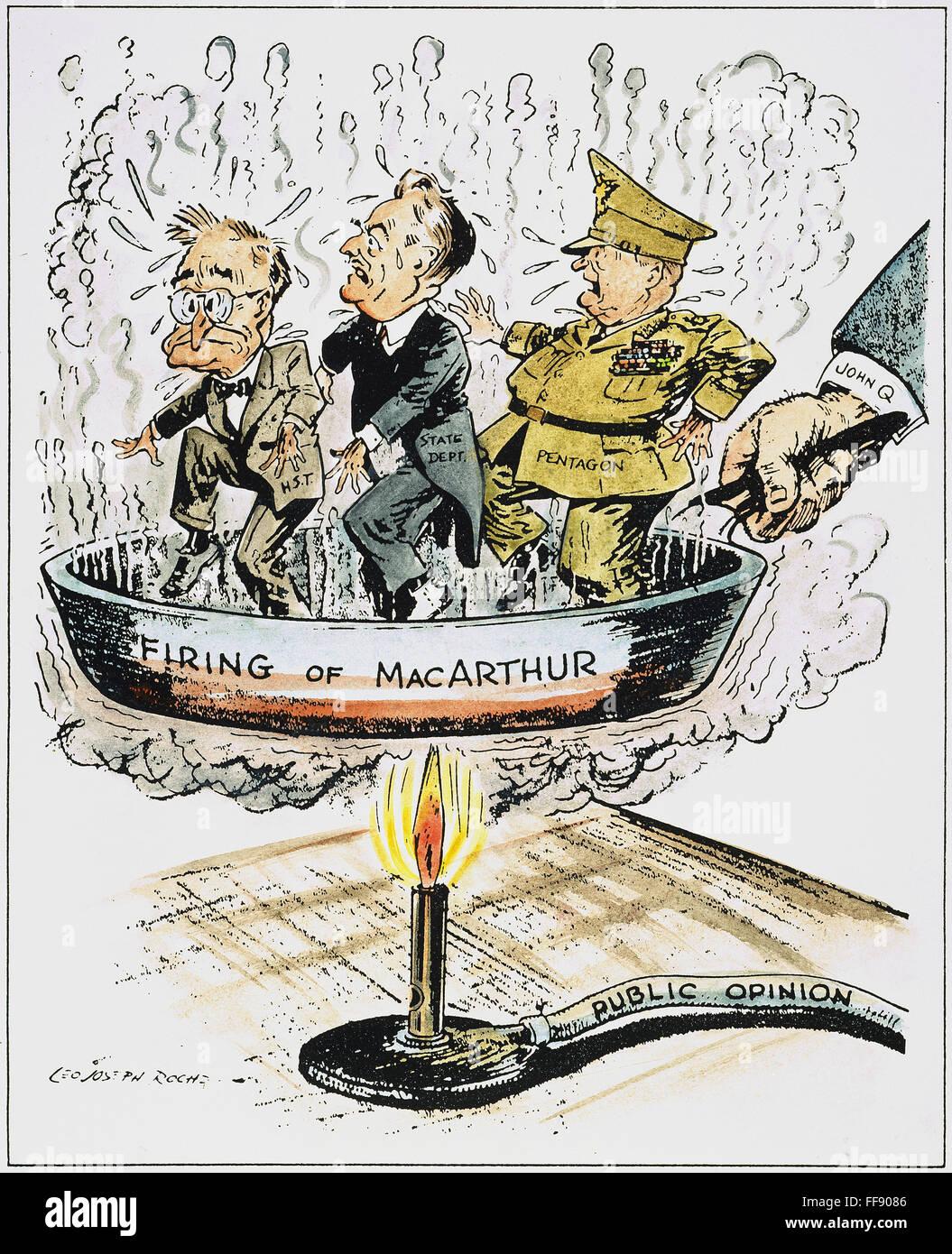 Firing Of Macarthur Namerican Cartoon By L J Roche