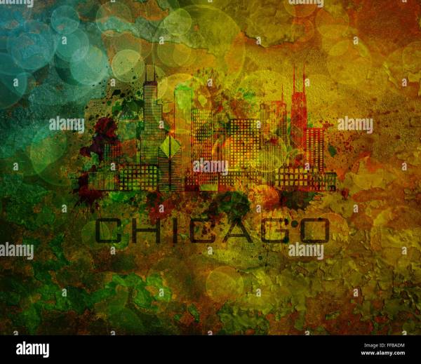 Chicago City Skyline Panorama Outline Stock &