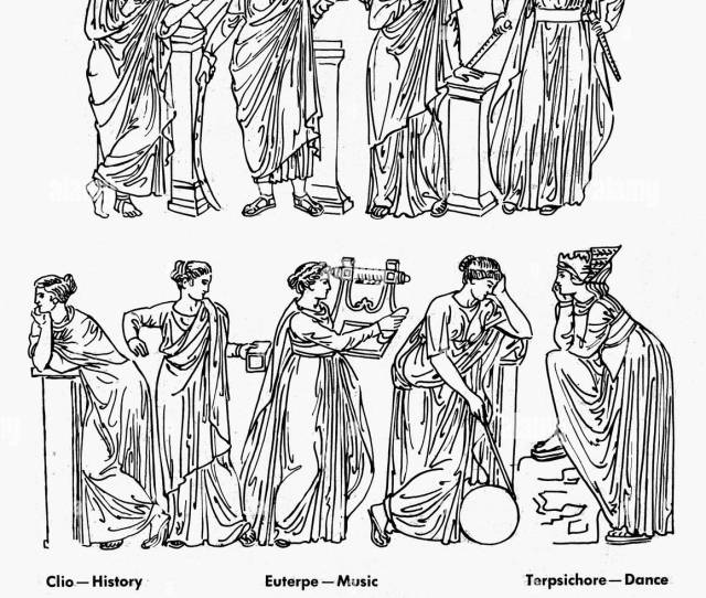 Nthe Nine Muses Of Greek Mythology Top Row Clio Muse Of History Thalia Muse Of Comedy Erato Muse Of Love Songs And Euterpe Muse Of Music