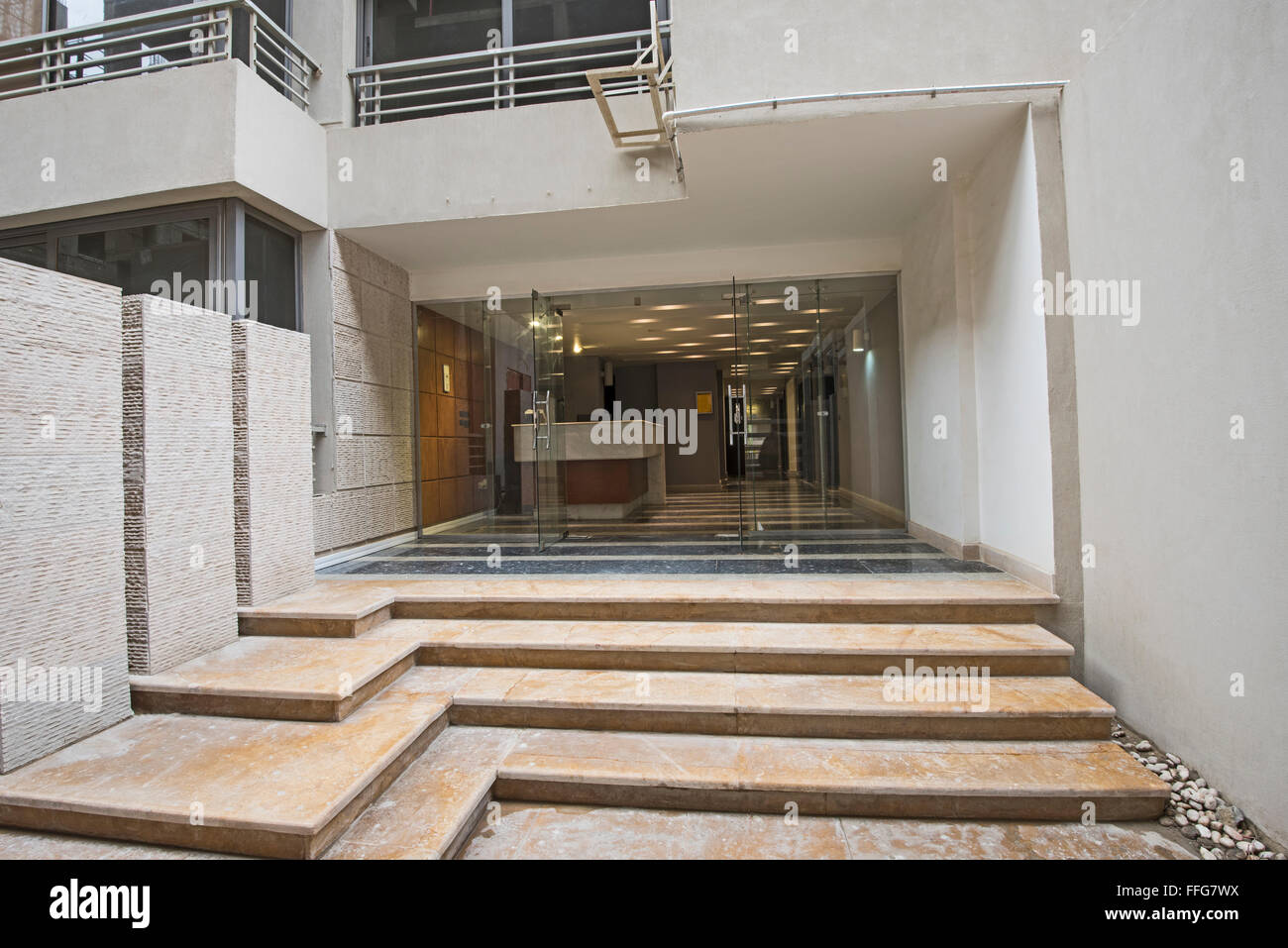 Entrance door and steps to a modern luxury apartment