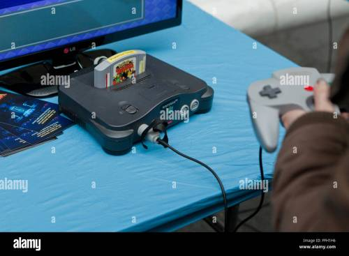 small resolution of nintendo 64 video game console and joystick usa stock image