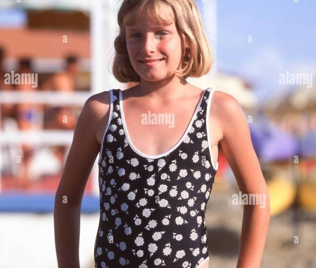 Young Italian Girl On Beach Forte Dei Marmi Province Of Lucca Tuscany Region Italy