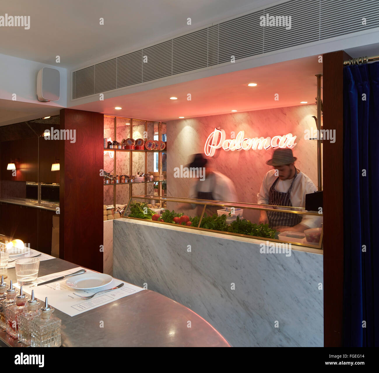 Open kitchen with bar counter seating and chefs at work The Palomar Stock Photo 96206240  Alamy