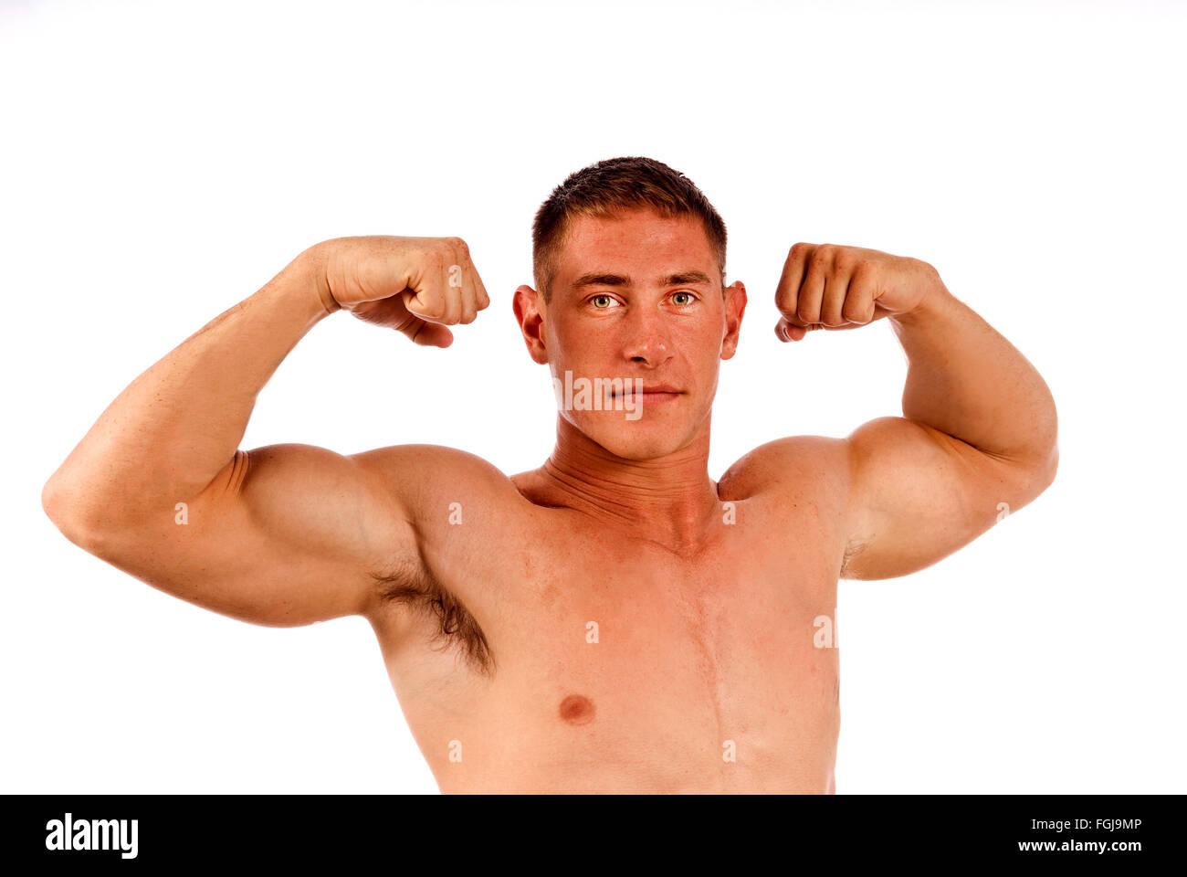 man flexing muscles stock