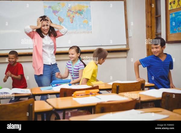 Naughty Child School Teacher Stock &