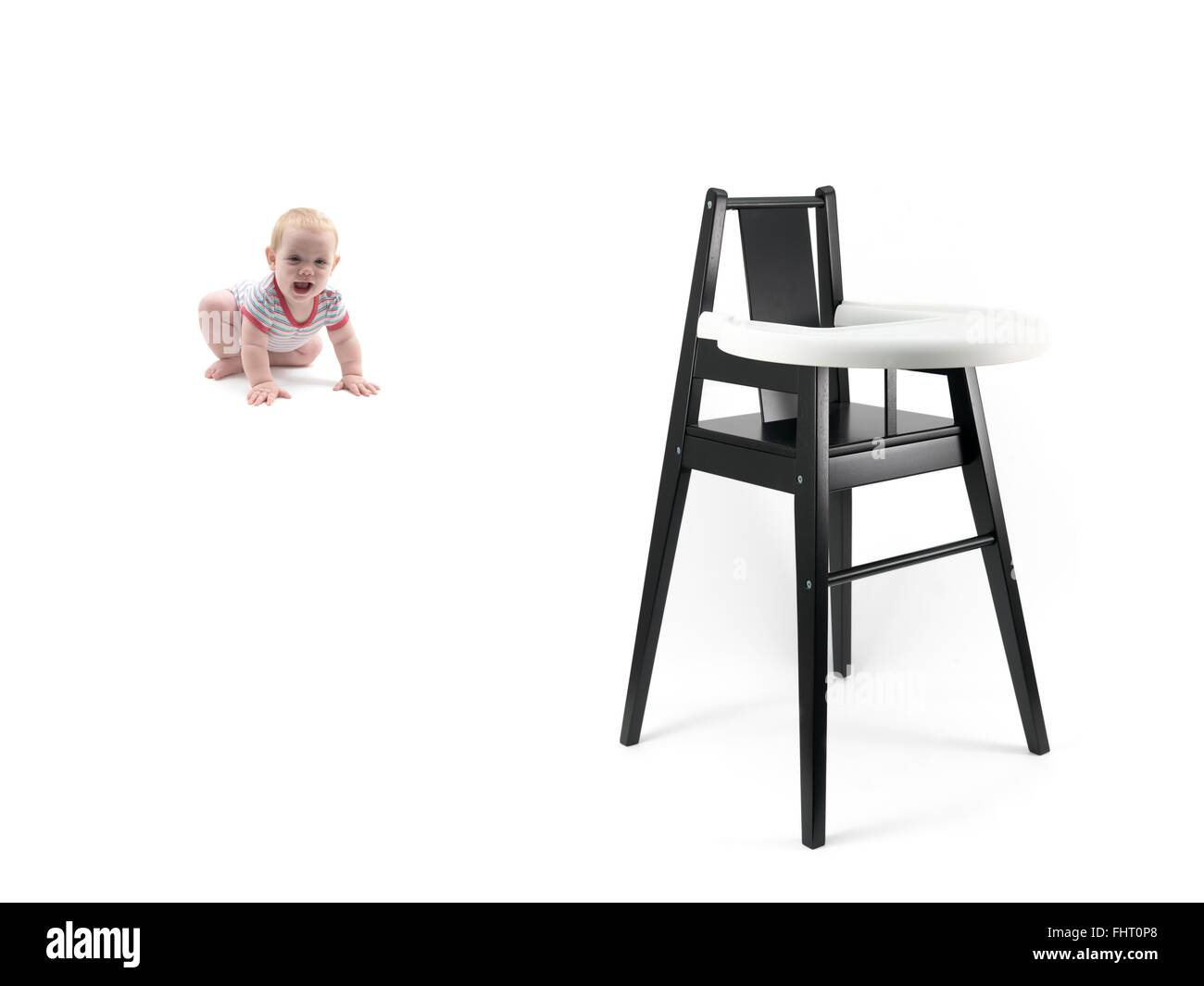 high chairs for small babies louis dining a baby girl and chair stock photo 97028464 alamy