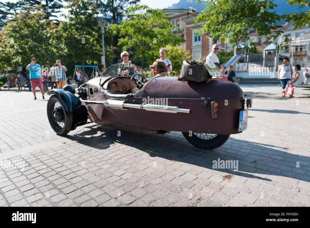 medium resolution of merano italy july 9 2015 start of the morgan three wheeler super