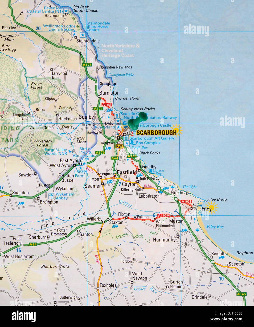 Road Map Of The East Coast Of England Showing Filey And