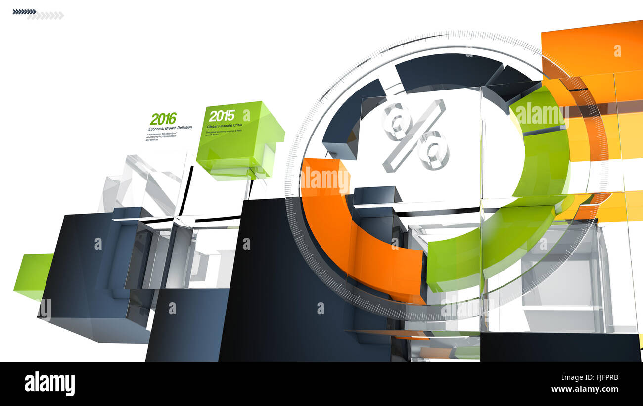hight resolution of illustration of a futuristic 3d circular infographic chart or graph showing growth results and percentage
