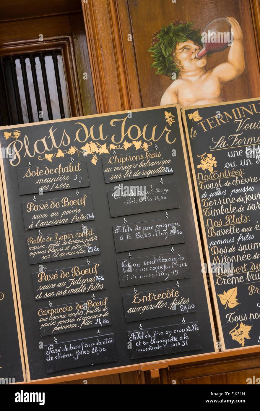 french brasserie chairs positive posture massage chair restaurant menu, paris france. dining establishment lists its stock photo: 97535137 - alamy