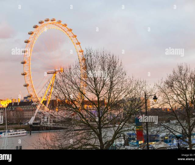 Soft Evening Light On The London Eye As The Sun Sets South Bank Embankment Lambeth County Hall And Westminster Bridge Landscape London Uk
