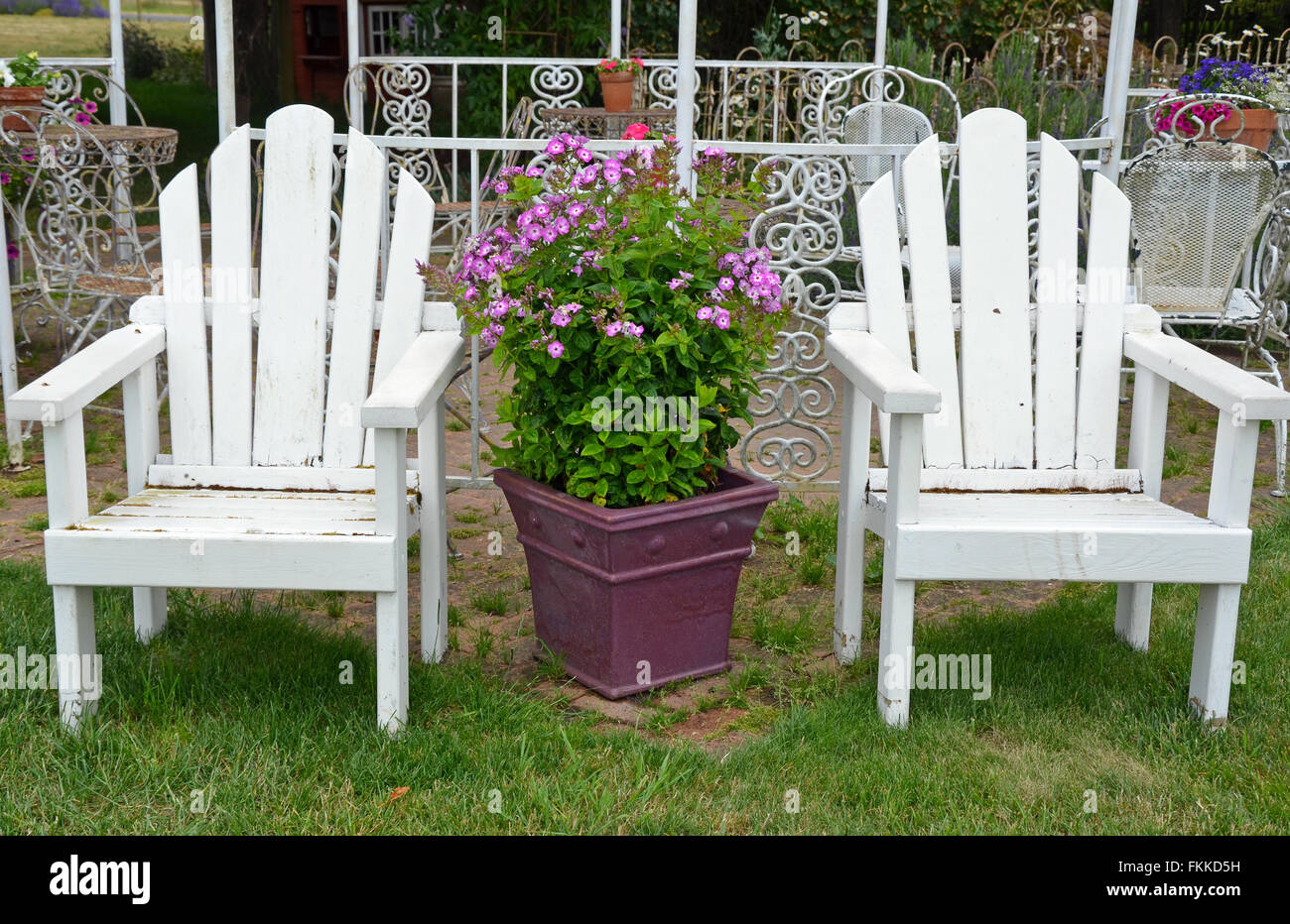 wooden porch chairs large chair bed two old white garden on summer patio stock photo