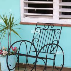 Wrought Iron Rocking Chair Hardwood Floor Protector Stock Photos Images On Porch At Vinales Pinar Del Rio Province Cuba