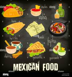 mexican menu food traditional spicy chalkboard background card meal alamy shopping cart comp