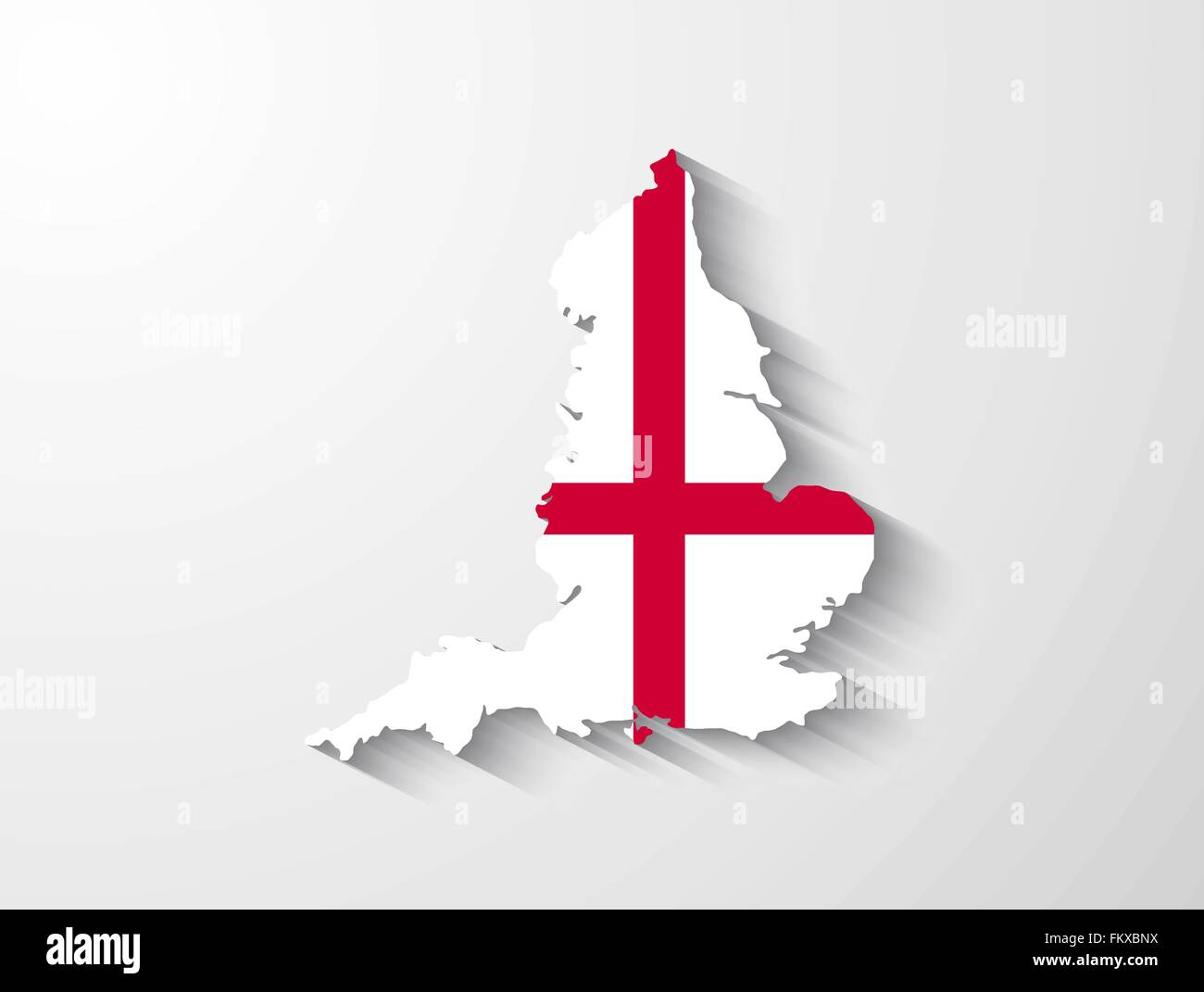 England Country Map With Flag And Shadow Effect Stock