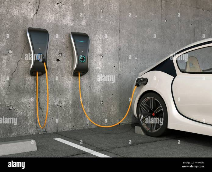 electric vehicle charging station for home stock photo: 99099777 - alamy