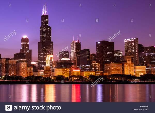 Chicago Skyline Night High Resolution With Willis