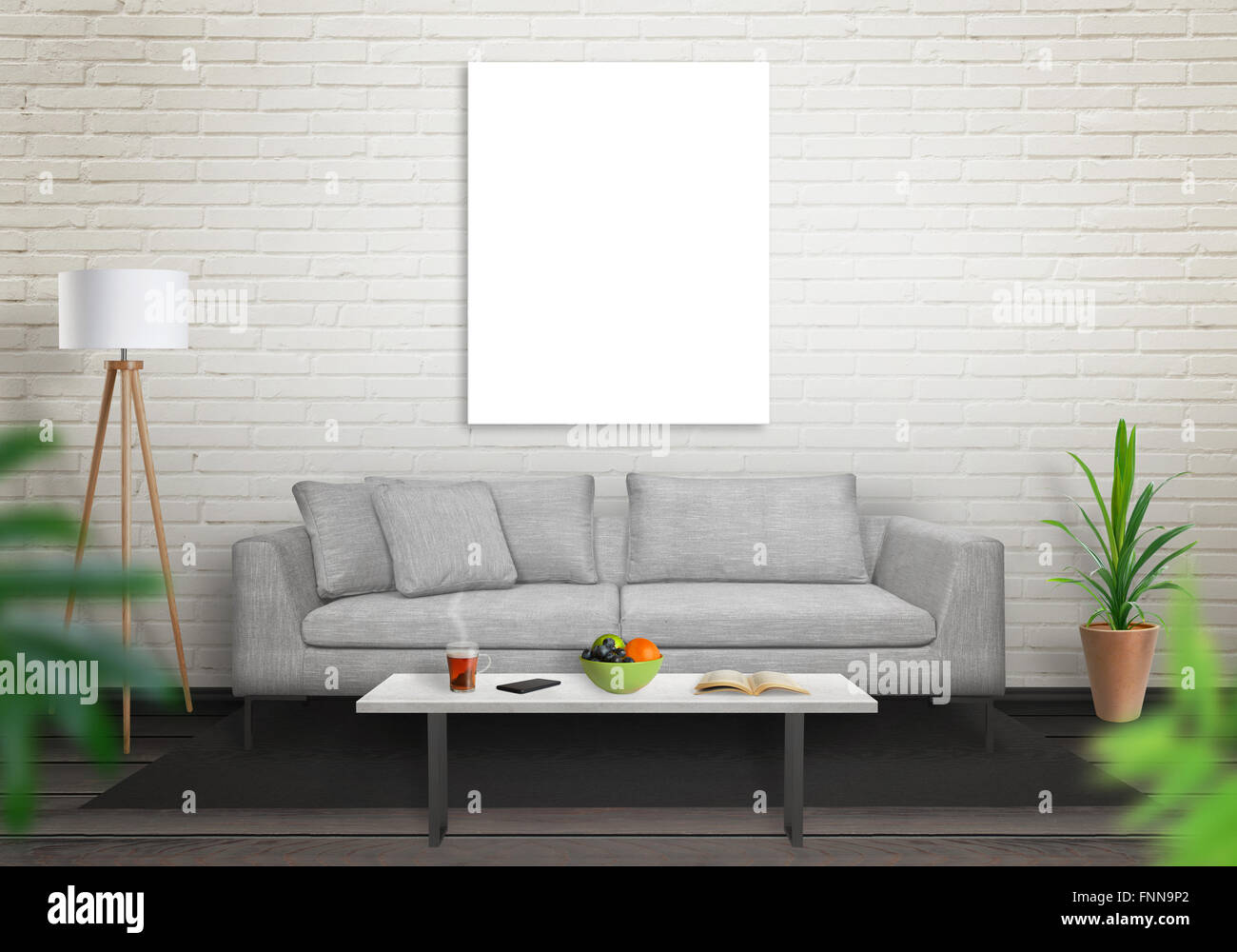 living room art wall candice olson decorating ideas isolated canvas in for mockup brick white and black wooden floor sofa table lamp plant