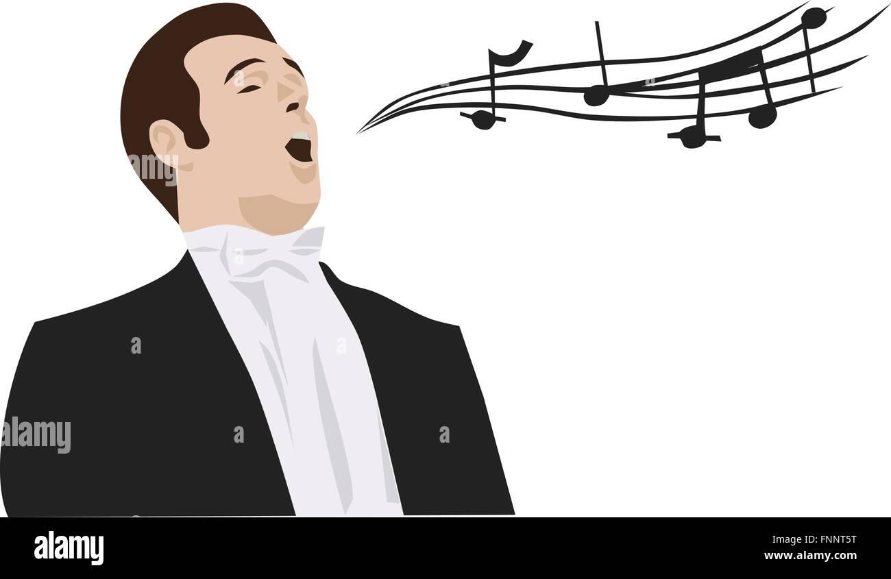 hight resolution of man singing opera vector stock vector