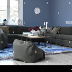 Living Room Bean Bags Diy Storage Shelves For Cozy Blue With Sectional Sofa And Plush Bag Chairs Modern Sitting Tastefully Decorated Woven Rug Clock Coffee Table