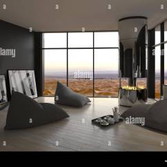 Living Room Bean Bags Modern Cabinet Designs For Informal Interior With Seating Arranged Around An Open Chimney On A Wooden Parquet Floor Grey Walls And Large View Window