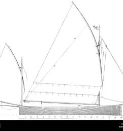 yachts standing lug rig sail plan for 17ft boat antique print 1891  [ 1300 x 1065 Pixel ]