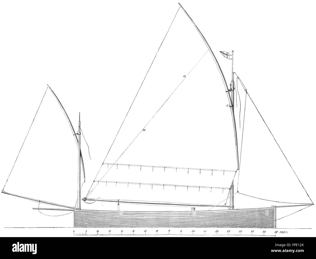 hight resolution of yachts standing lug rig sail plan for 17ft boat antique print 1891