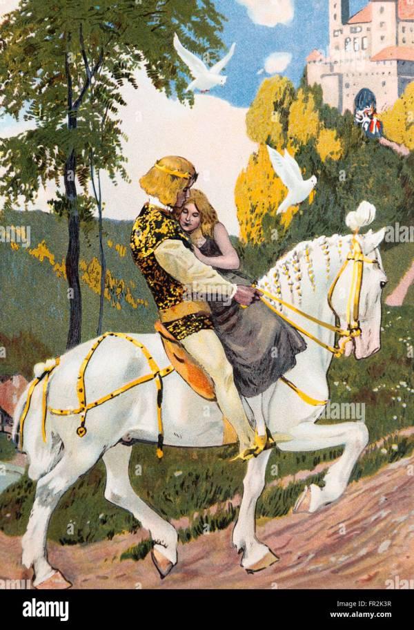 """""""aschenputtel"""". Illustration Grimm Brothers Fairy"""