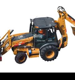 a biodiesel powered case 580n backhoe loader with driver and a con edison logo isolated on white background [ 1300 x 956 Pixel ]