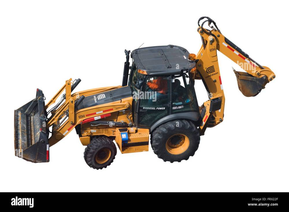 medium resolution of a biodiesel powered case 580n backhoe loader with driver and a con edison logo isolated on white background