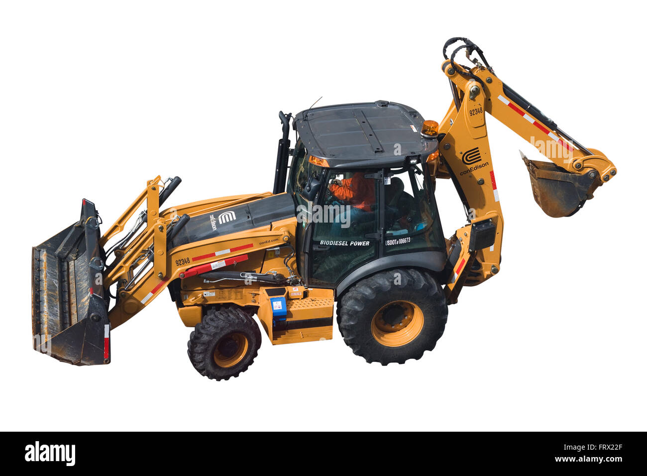 hight resolution of a biodiesel powered case 580n backhoe loader with driver and a con edison logo isolated on white background