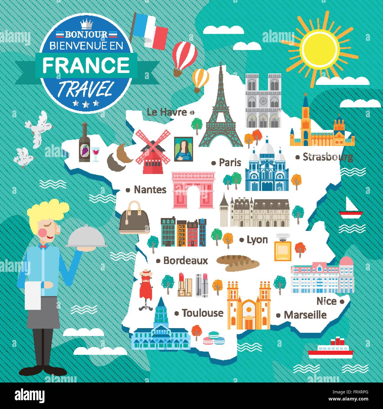 Attractive France Travel Map With Attractions And