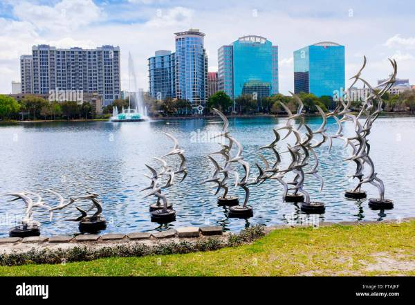 Lake Eola Park With Public Sculpture Of Birds And
