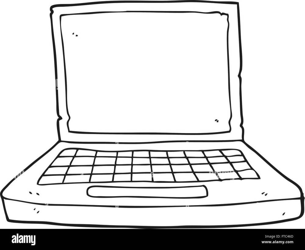 medium resolution of freehand drawn black and white cartoon laptop computer stock image