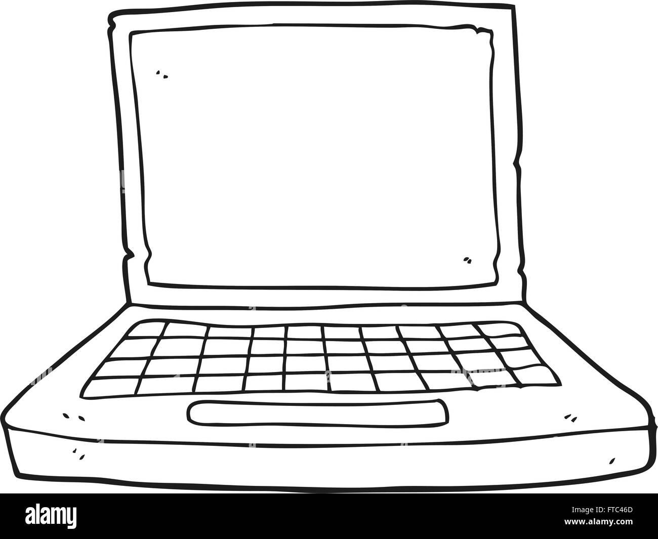 hight resolution of freehand drawn black and white cartoon laptop computer stock image