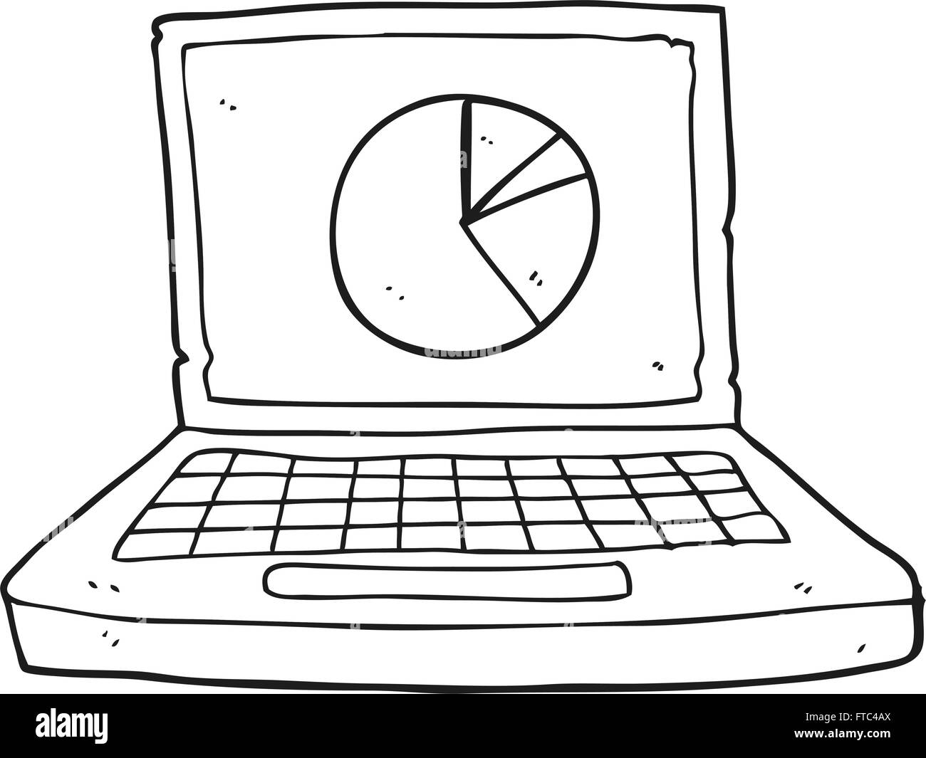 hight resolution of freehand drawn black and white cartoon laptop computer with pie chart stock image
