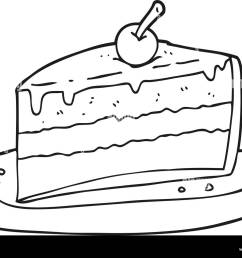 freehand drawn black and white cartoon slice of cake [ 1300 x 1015 Pixel ]