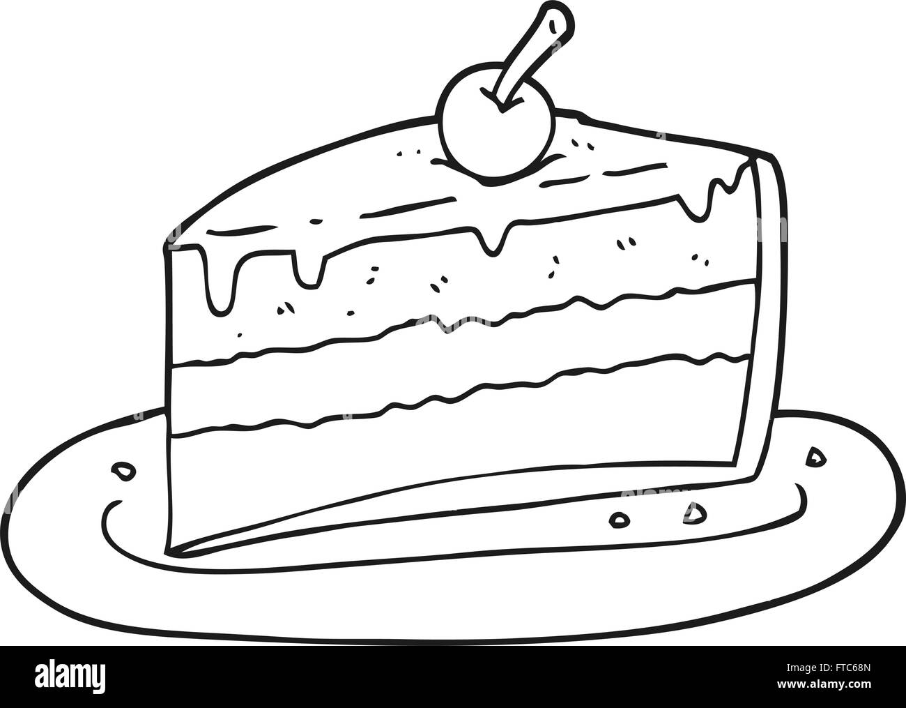 hight resolution of freehand drawn black and white cartoon slice of cake