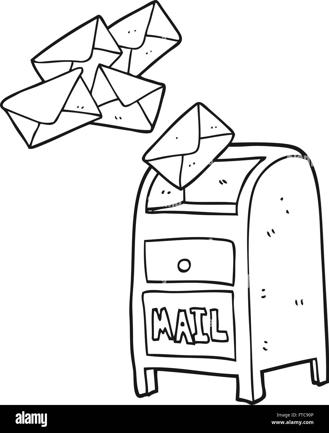 Freehand Drawn Black And White Cartoon Mail Box Stock