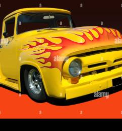 yellow 1956 ford f100 pickup orange flames on hood black and orange background  [ 1300 x 954 Pixel ]