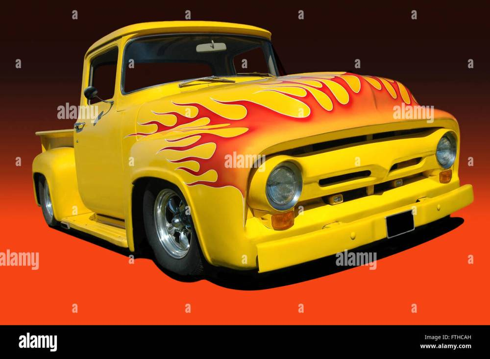 medium resolution of yellow 1956 ford f100 pickup orange flames on hood black and orange background