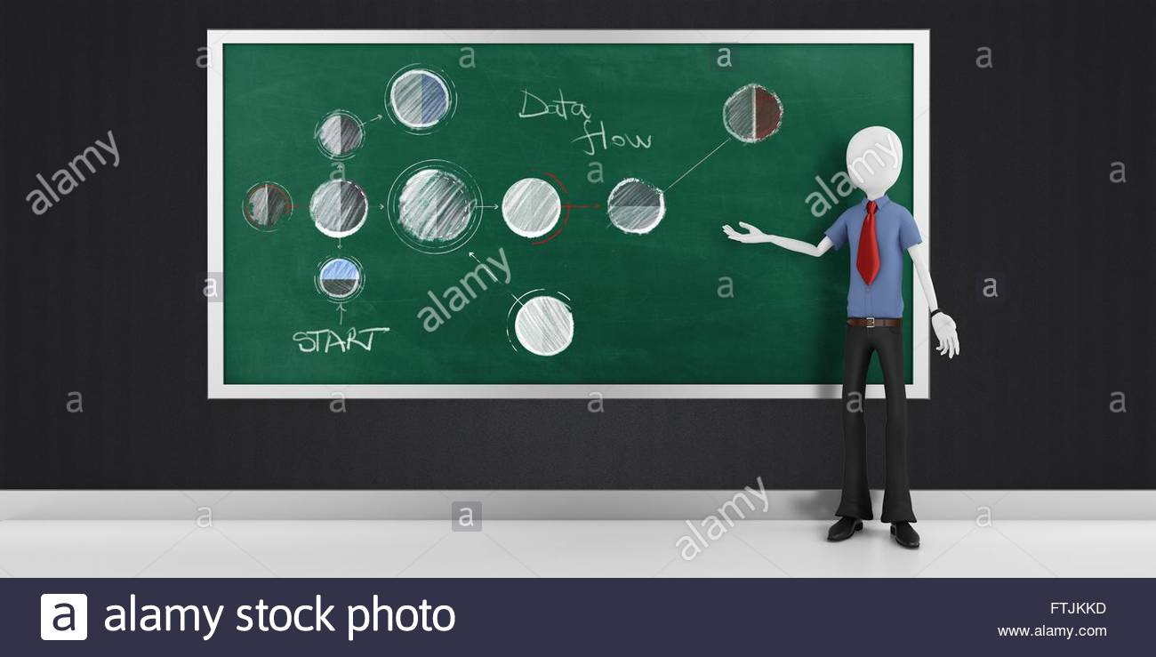 hight resolution of 3d man with strategy flow chart diagram stock image
